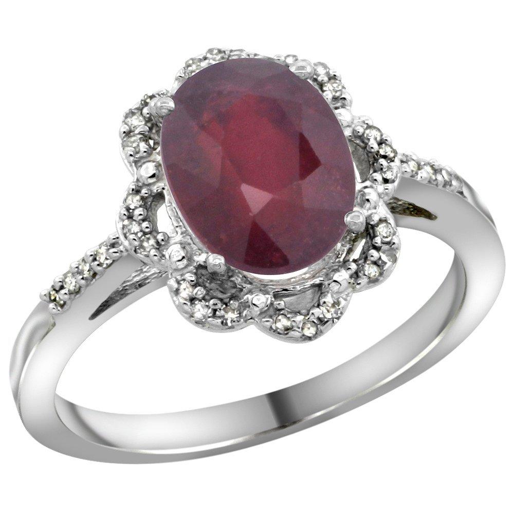 Natural 2.24 ctw Ruby & Diamond Engagement Ring 10K