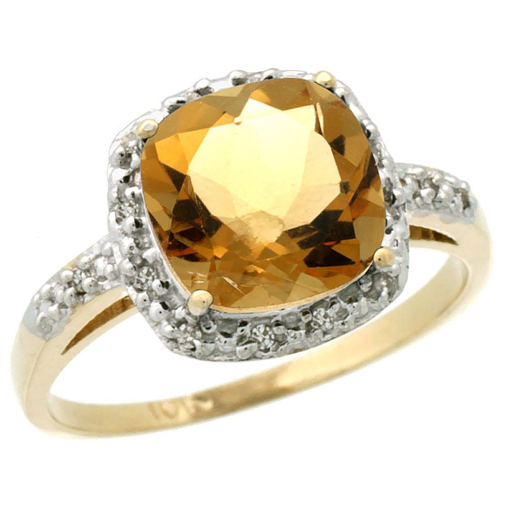 Natural 3.92 ctw Citrine & Diamond Engagement Ring 10K