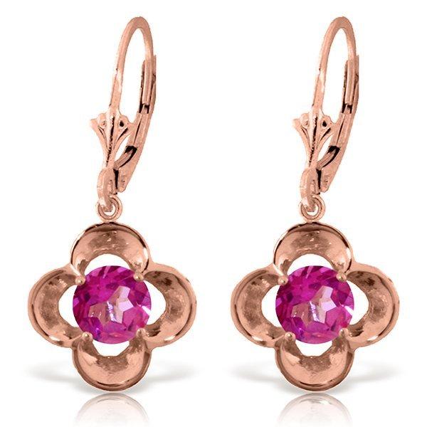 Genuine 1.10 ctw Pink Topaz Earrings Jewelry 14KT Rose