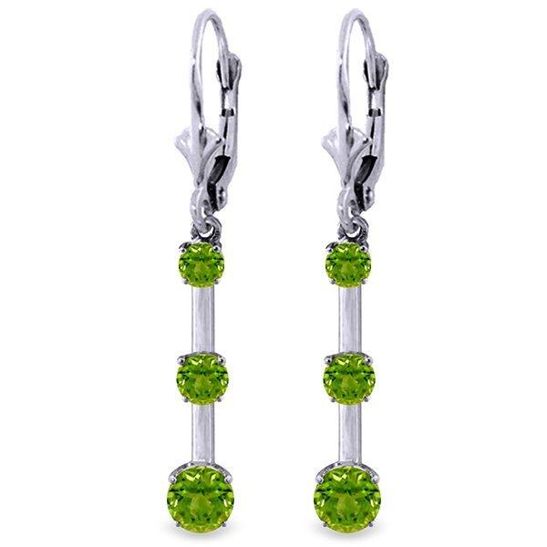 Genuine 2.5 ctw Peridot Earrings Jewelry 14KT White