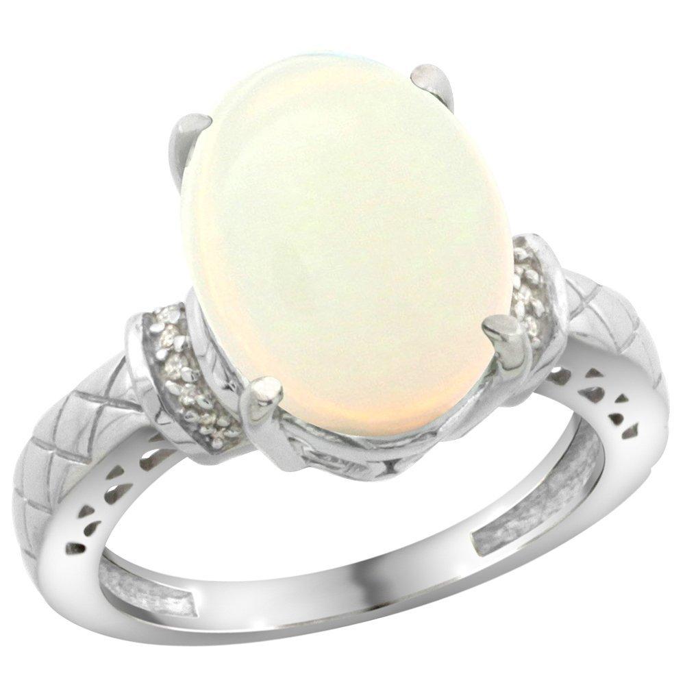 Natural 5.53 ctw Opal & Diamond Engagement Ring 14K