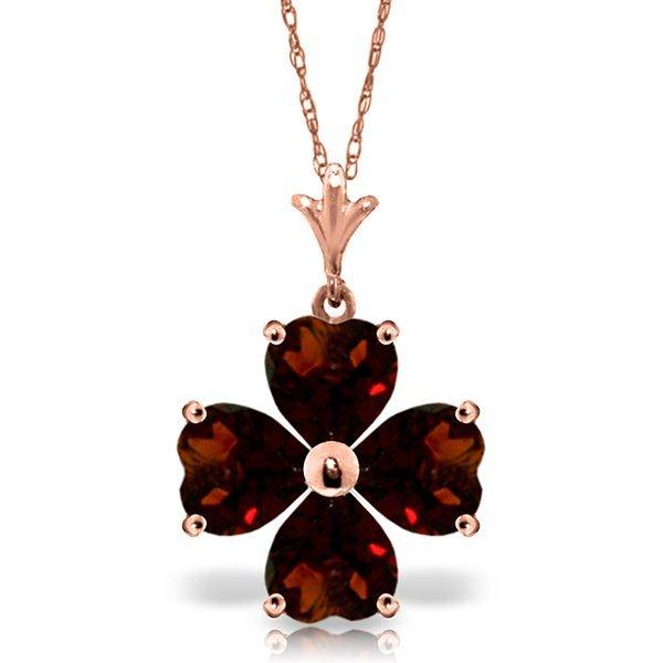 Genuine 3.8 ctw Garnet Necklace Jewelry 14KT Rose Gold