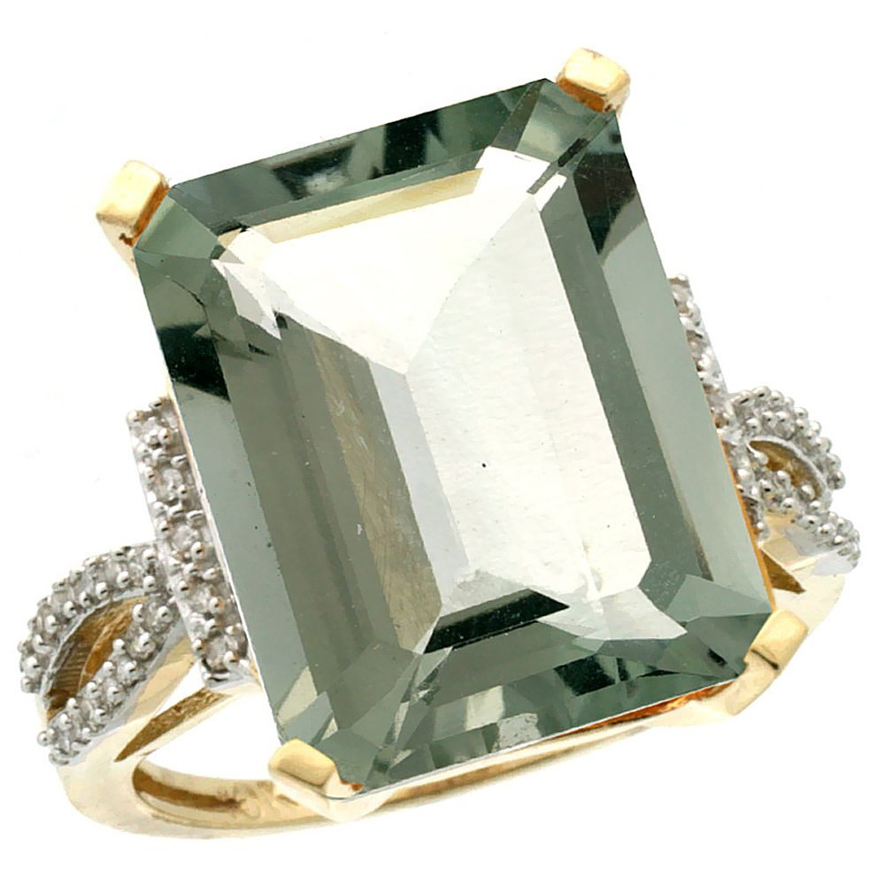 Natural 12.14 ctw green-amethyst & Diamond Engagement