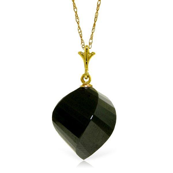Genuine 15.5 ctw Black Spinel Necklace Jewelry 14KT