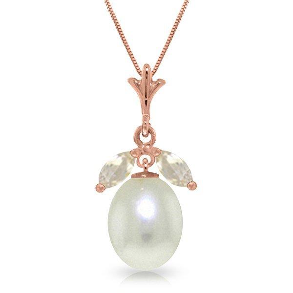 Genuine 4.5 ctw White Topaz Necklace Jewelry 14KT Rose
