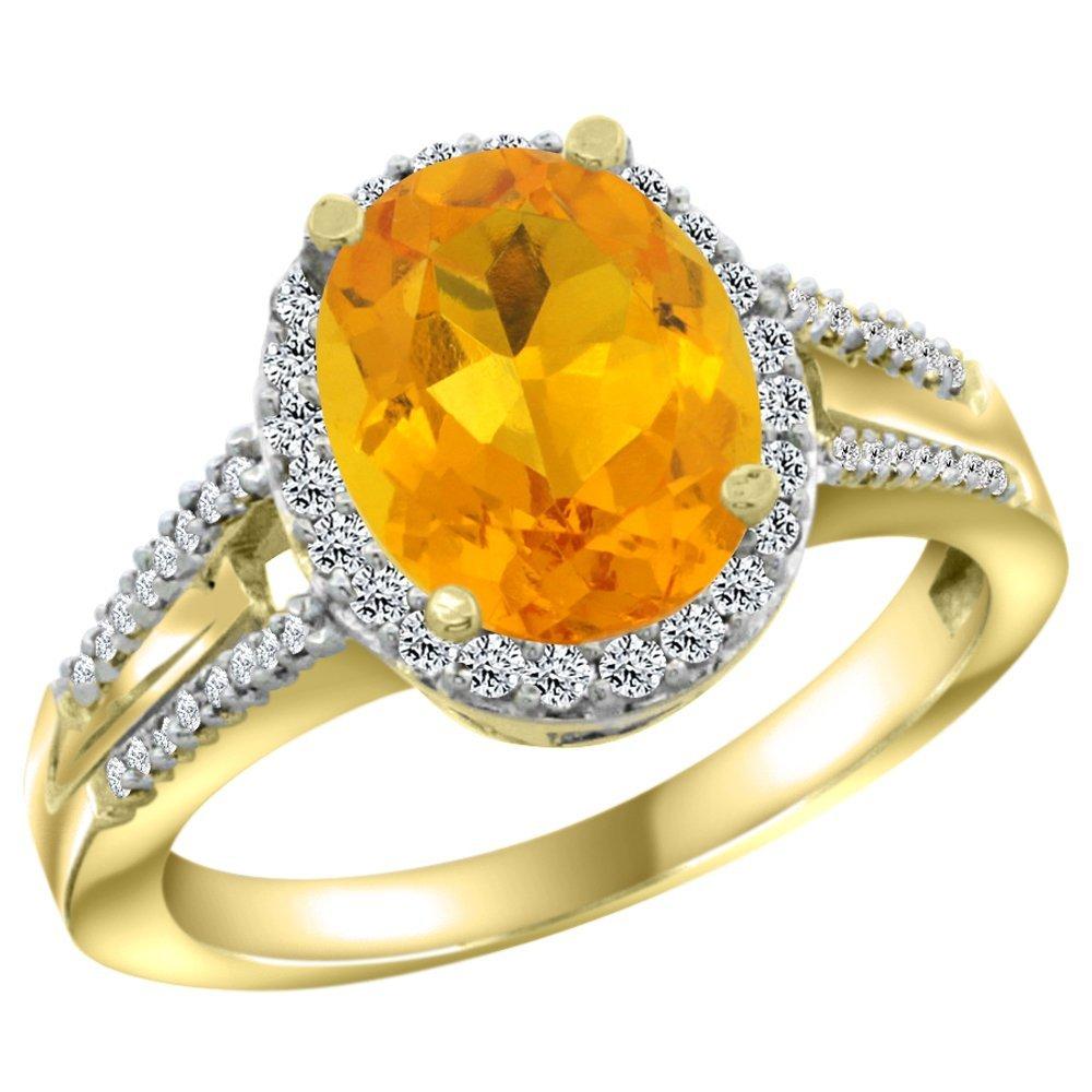 Natural 2.72 ctw citrine & Diamond Engagement Ring 10K