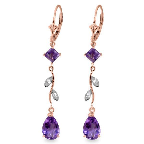 Genuine 3.97 ctw Amethyst & Diamond Earrings Jewelry