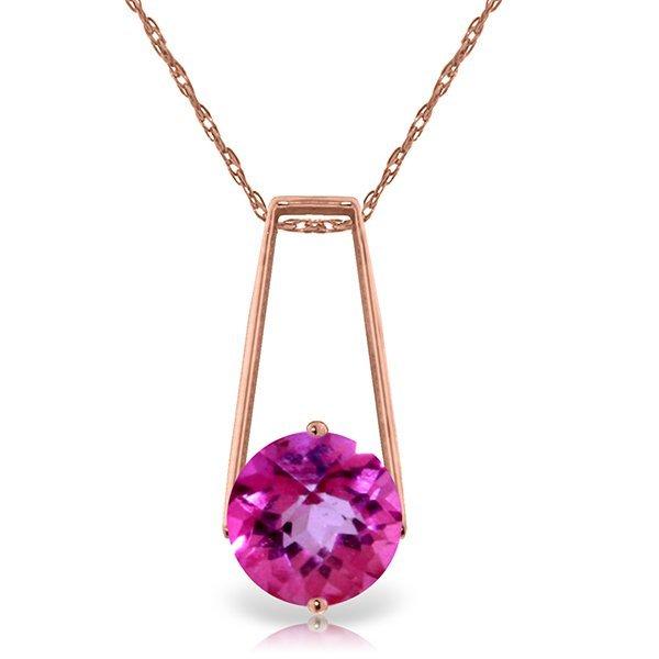 Genuine 1.45 ctw Pink Topaz Necklace Jewelry 14KT Rose