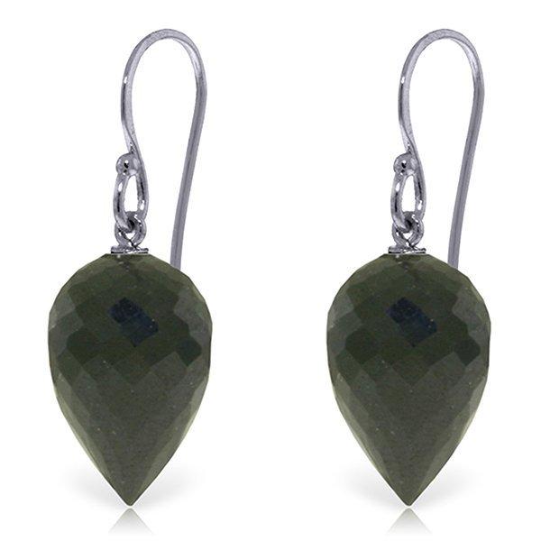 Genuine 24.5 ctw Black Spinel Earrings Jewelry 14KT
