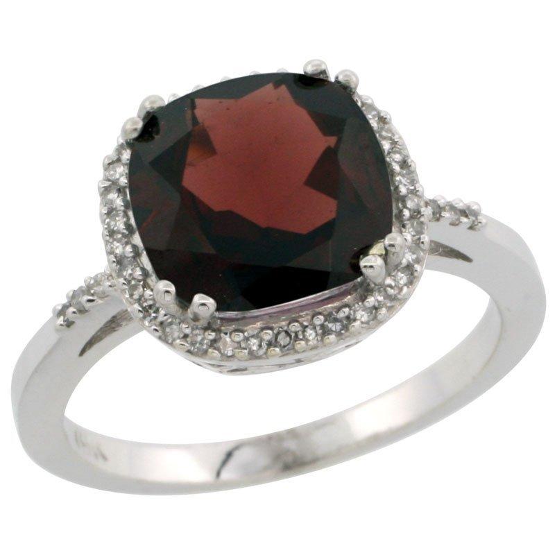Natural 4.11 ctw Garnet & Diamond Engagement Ring 14K