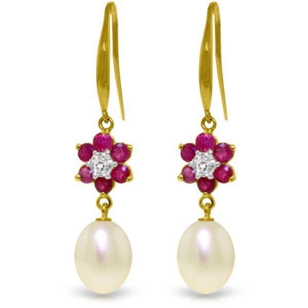 Genuine 9.01 ctw Ruby, Pearl & Diamond Earrings Jewelry