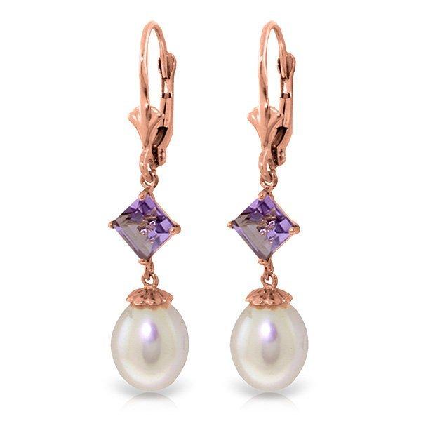 Genuine 9.5 ctw Pearl & Amethyst Earrings Jewelry 14KT