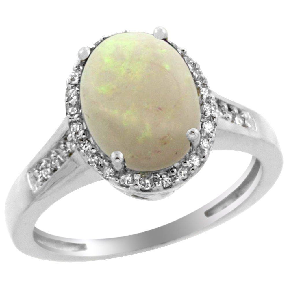Natural 2.49 ctw Opal & Diamond Engagement Ring 10K