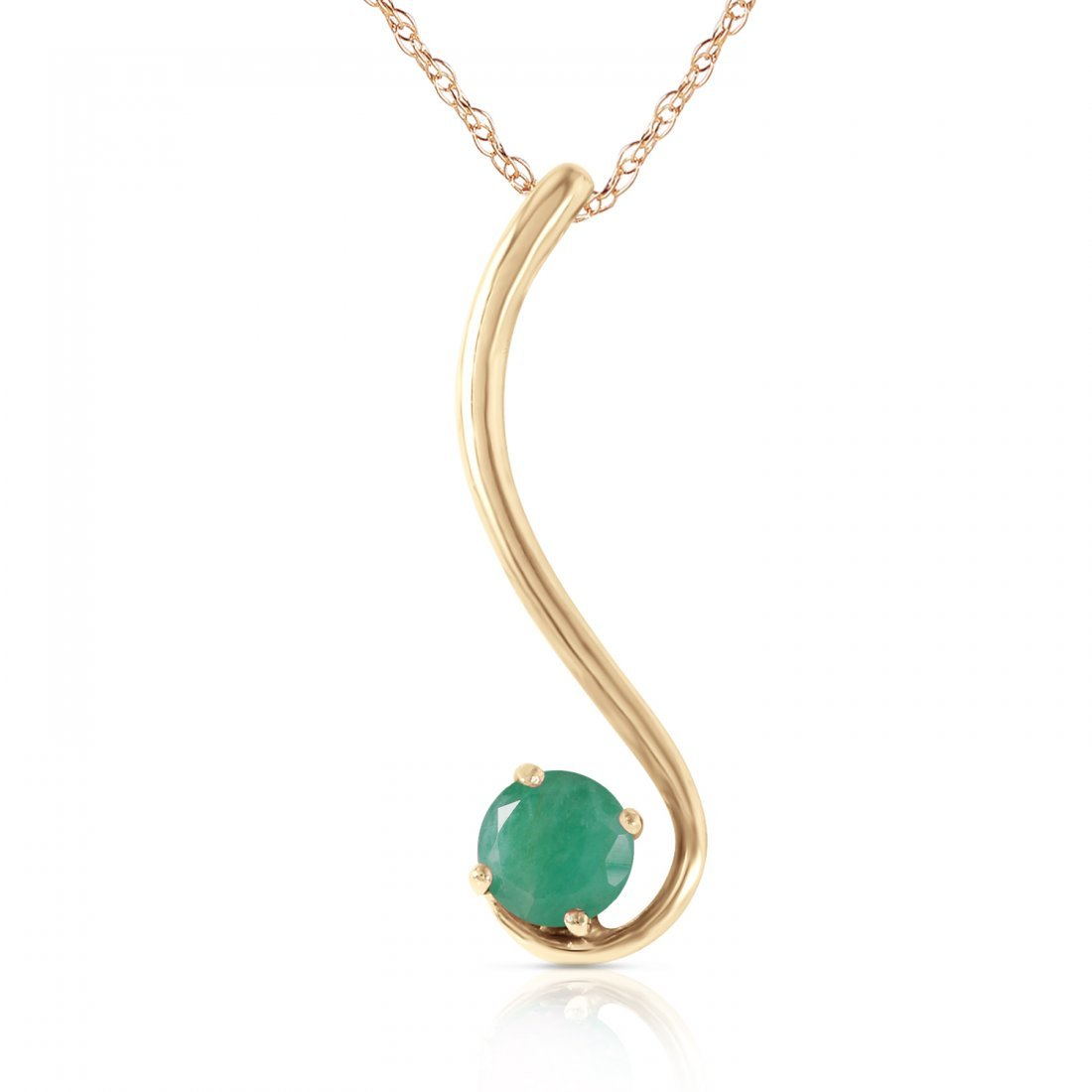 Genuine 0.55 ctw Emerald Necklace Jewelry 14KT Yellow