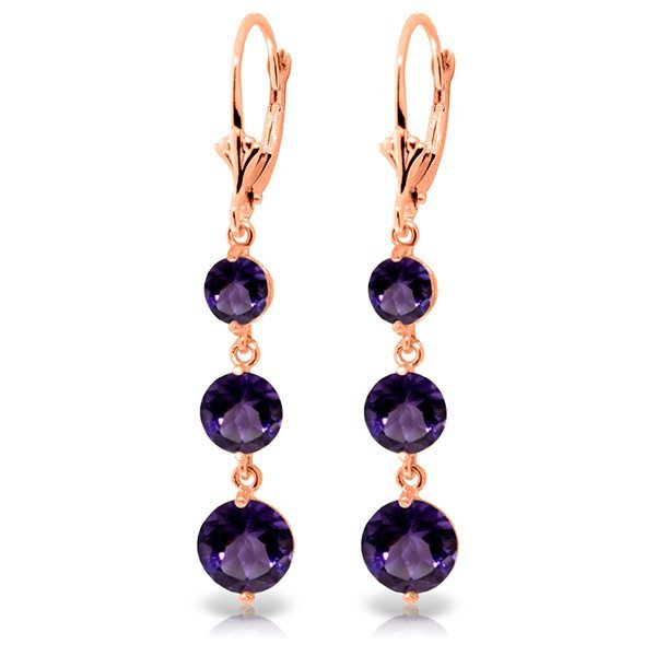 Genuine 7.2 ctw Amethyst Earrings Jewelry 14KT Rose