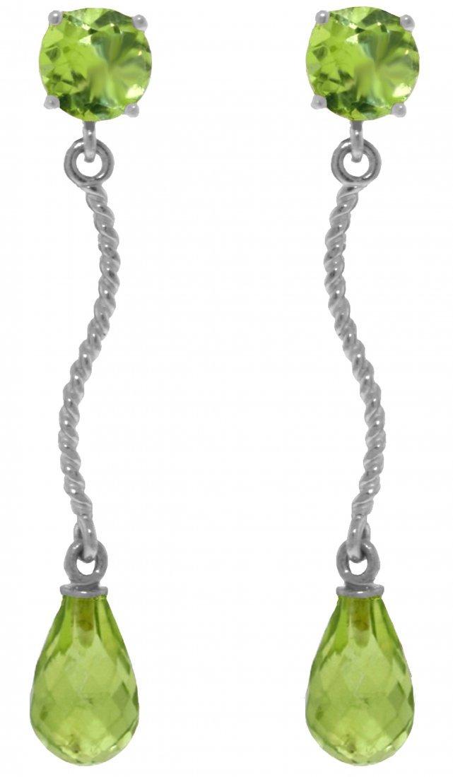 Genuine 4.3 ctw Peridot Earrings Jewelry 14KT White