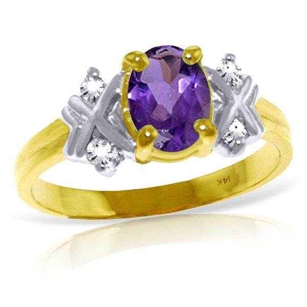 Genuine 0.97 ctw Amethyst & Diamond Ring Jewelry 14KT