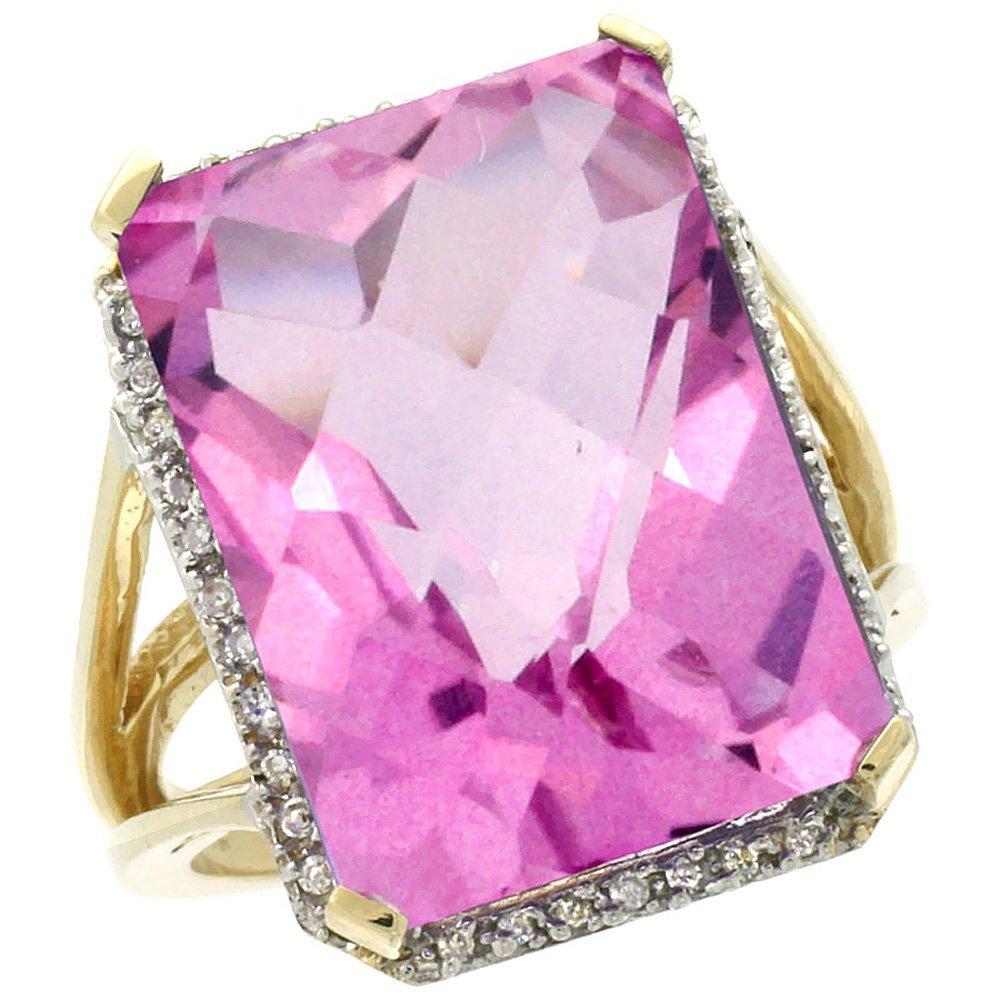 Natural 15.06 ctw Pink-topaz & Diamond Engagement Ring