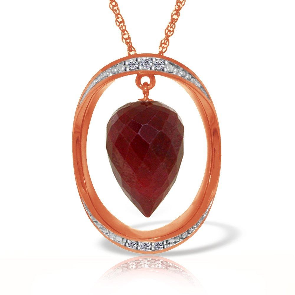 Genuine 13.1 ctw Ruby & Diamond Necklace Jewelry 14KT