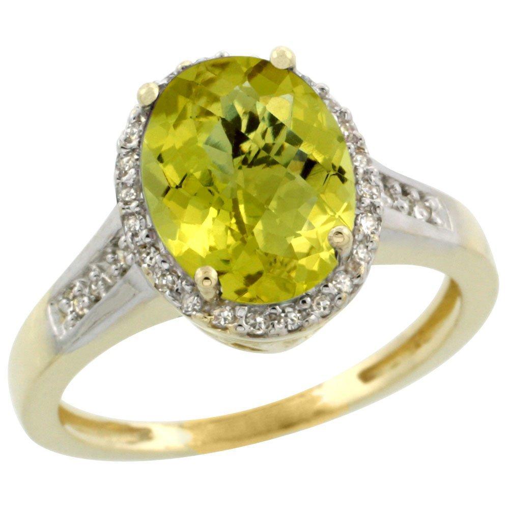 Natural 2.49 ctw Lemon-quartz & Diamond Engagement Ring