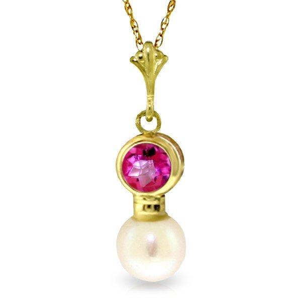 Genuine 1.23 ctw Pink Topaz & Pearl Necklace Jewelry