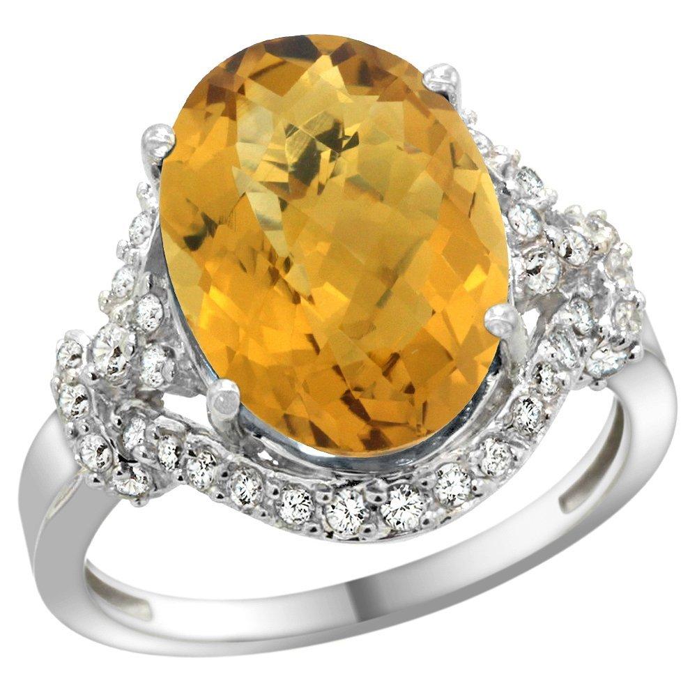 Natural 5.89 ctw quartz & Diamond Engagement Ring 14K