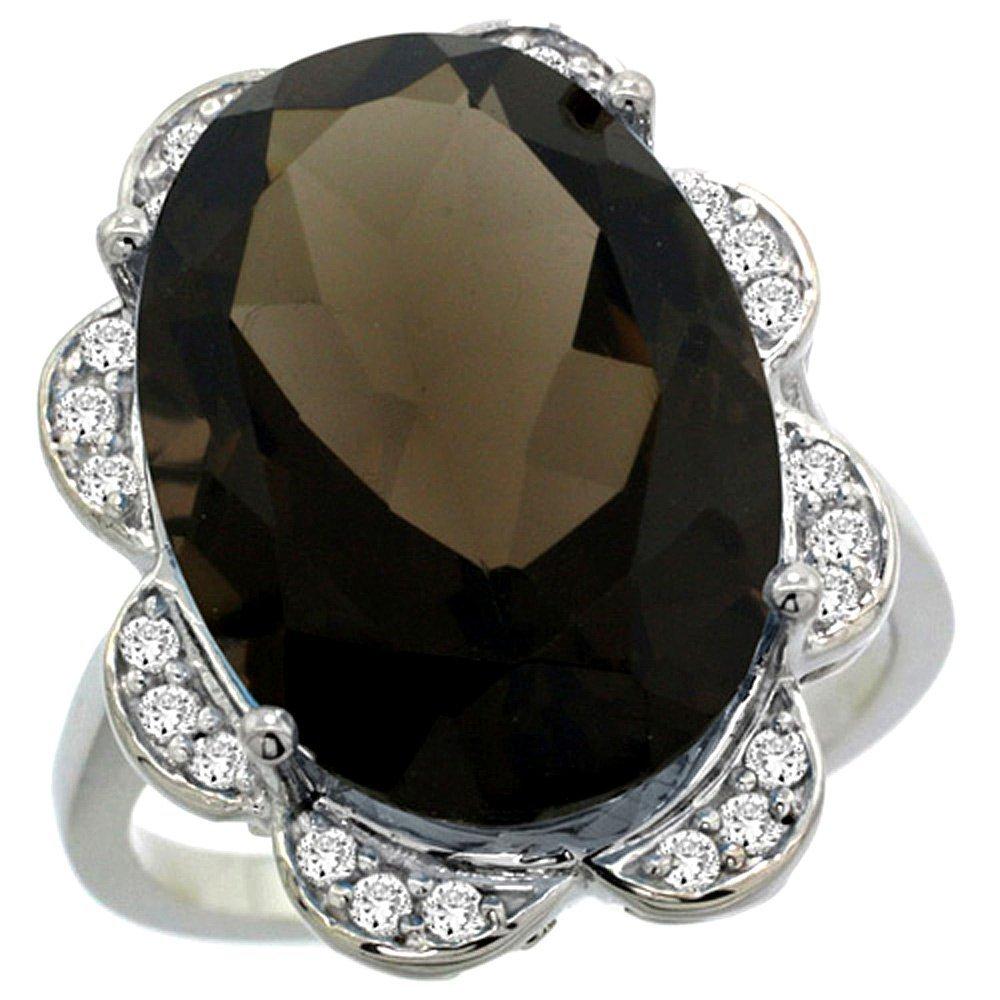 Natural 13.83 ctw smoky-topaz & Diamond Engagement Ring