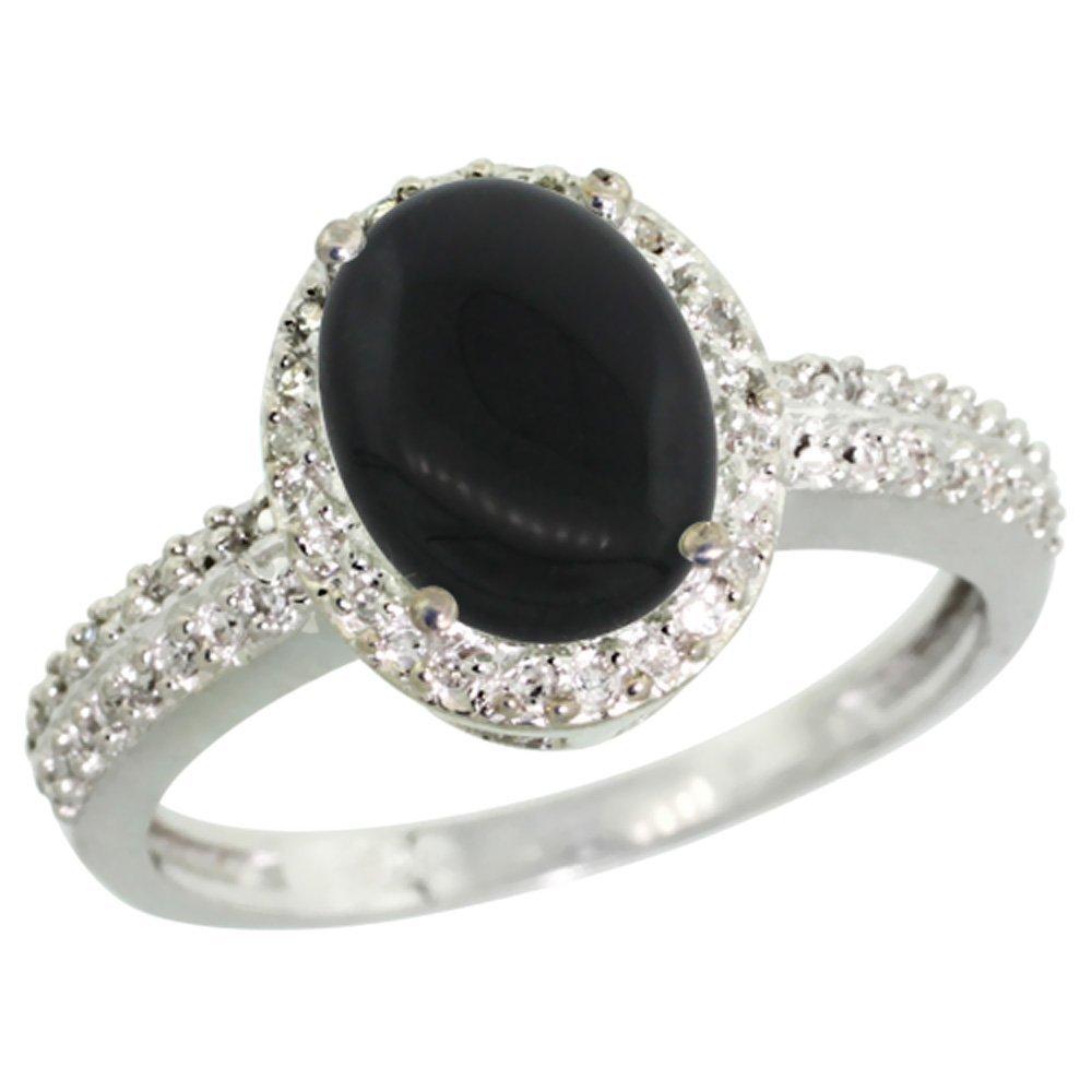 Natural 1.95 ctw Onyx & Diamond Engagement Ring 14K