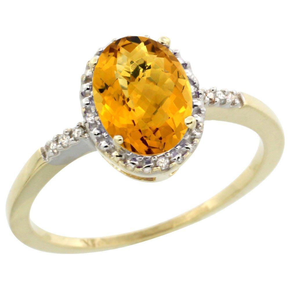 Natural 1.2 ctw Whisky-quartz & Diamond Engagement Ring