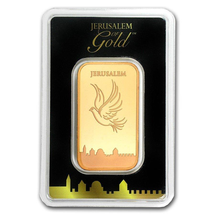 One pc. 1 oz .9999 Fine Gold Bar - Holy Land Mint Dove