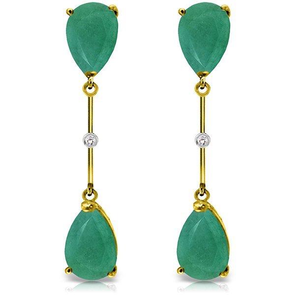 Genuine 15.01 ctw Emerald & Diamond Earrings Jewelry