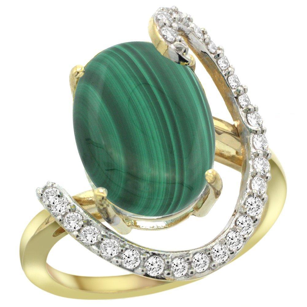 Natural 7.41 ctw Malachite & Diamond Engagement Ring
