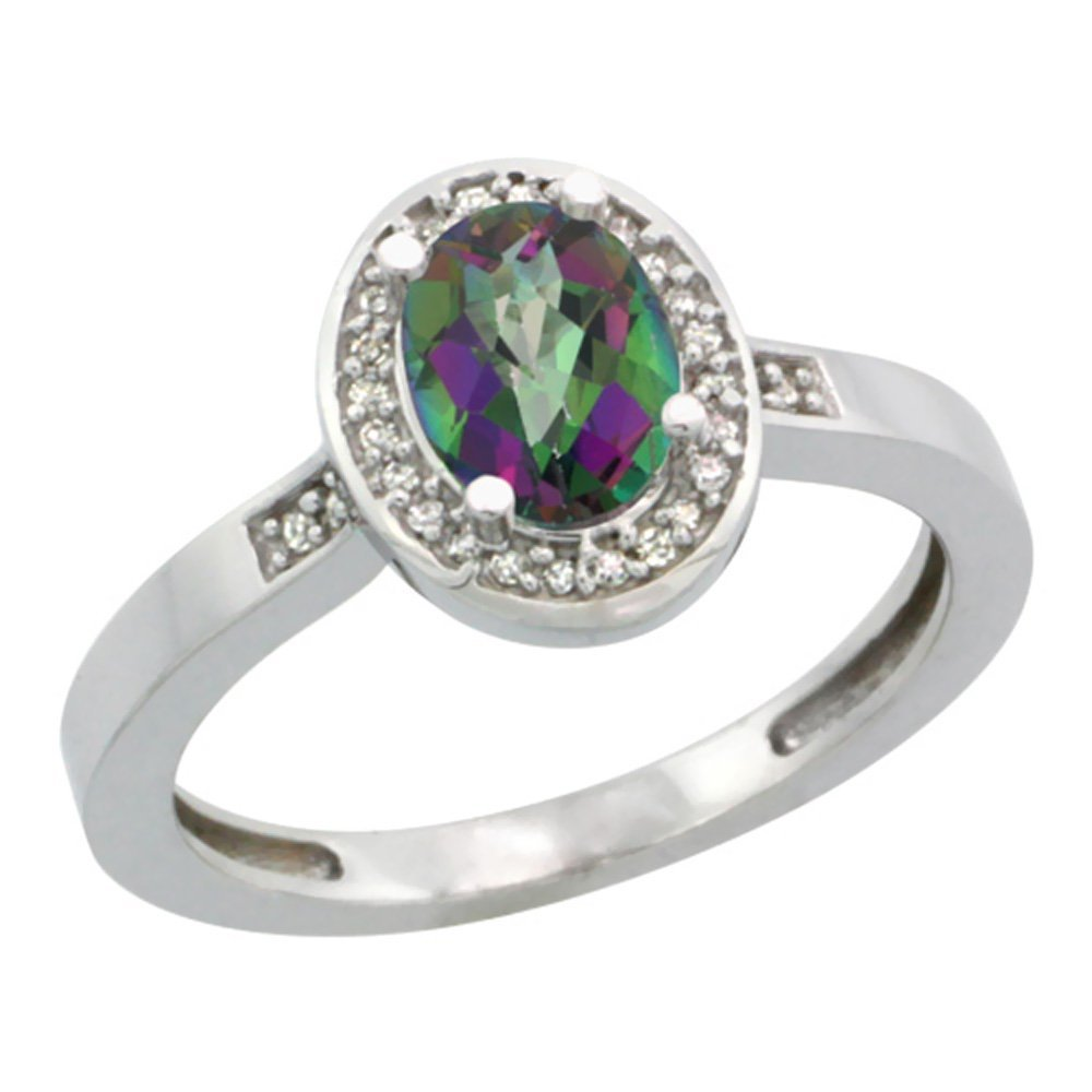 Natural 1.08 ctw Mystic-topaz & Diamond Engagement Ring