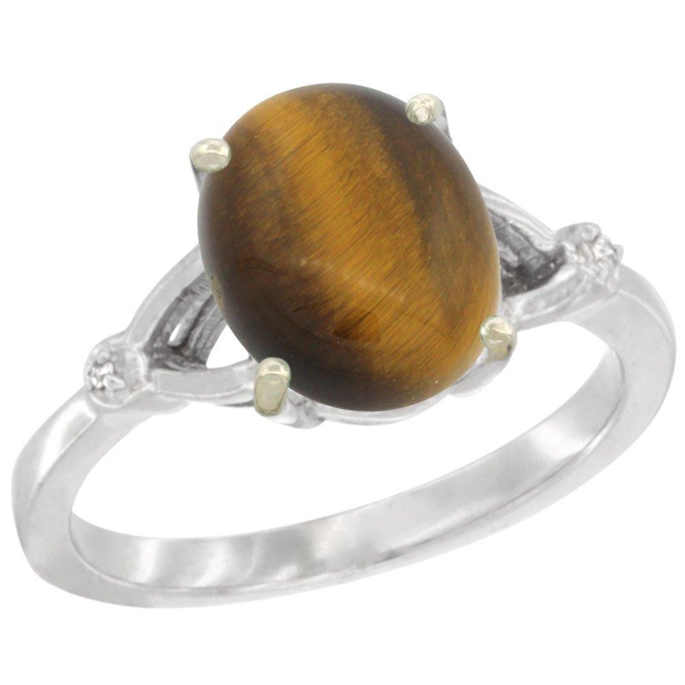 Natural 2.31 ctw Tiger-eye & Diamond Engagement Ring