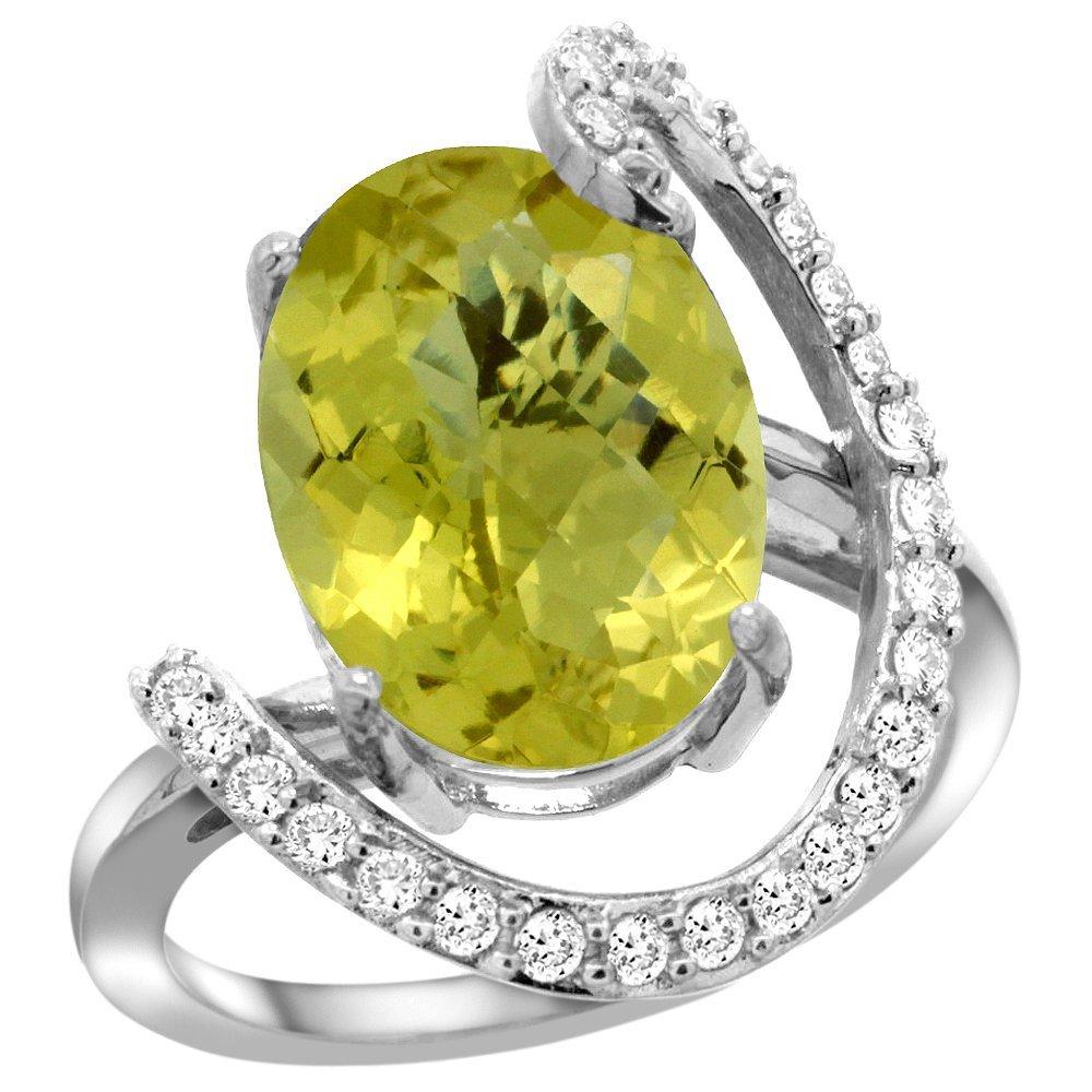Natural 5.89 ctw Lemon-quartz & Diamond Engagement Ring