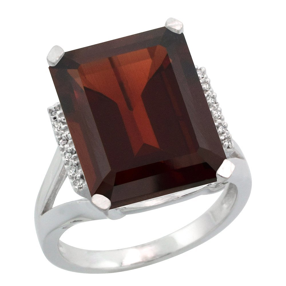 Natural 12.13 ctw Garnet & Diamond Engagement Ring 14K