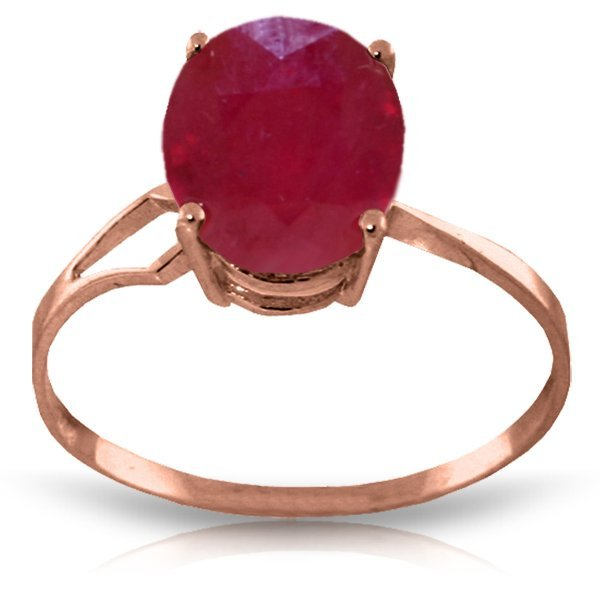 Genuine 3.5 ctw Ruby Ring Jewelry 14KT Rose Gold -