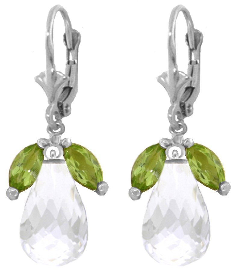 Genuine 14.4 ctw White Topaz & Peridot Earrings Jewelry