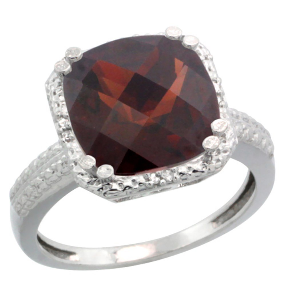 Natural 5.96 ctw Garnet & Diamond Engagement Ring 10K
