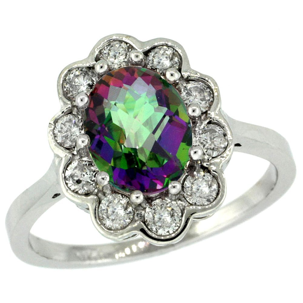 Natural 2.34 ctw Mystic-topaz & Diamond Engagement Ring