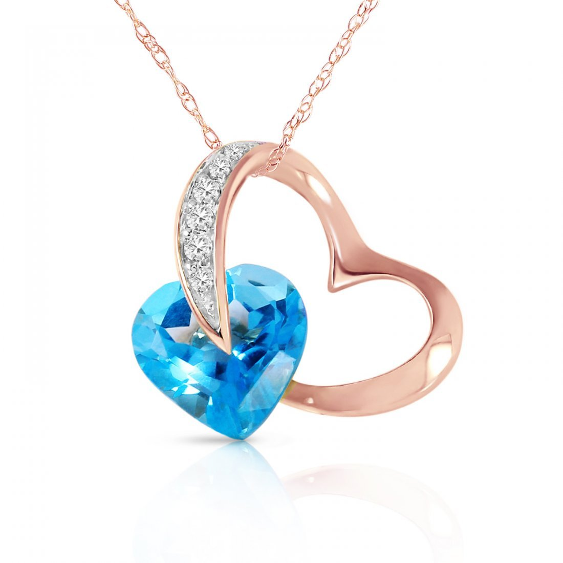 Genuine 4.6 ctw Blue Topaz & Diamond Necklace Jewelry