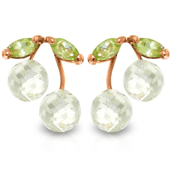 Genuine 2.9 ctw White Topaz & Peridot Earrings Jewelry