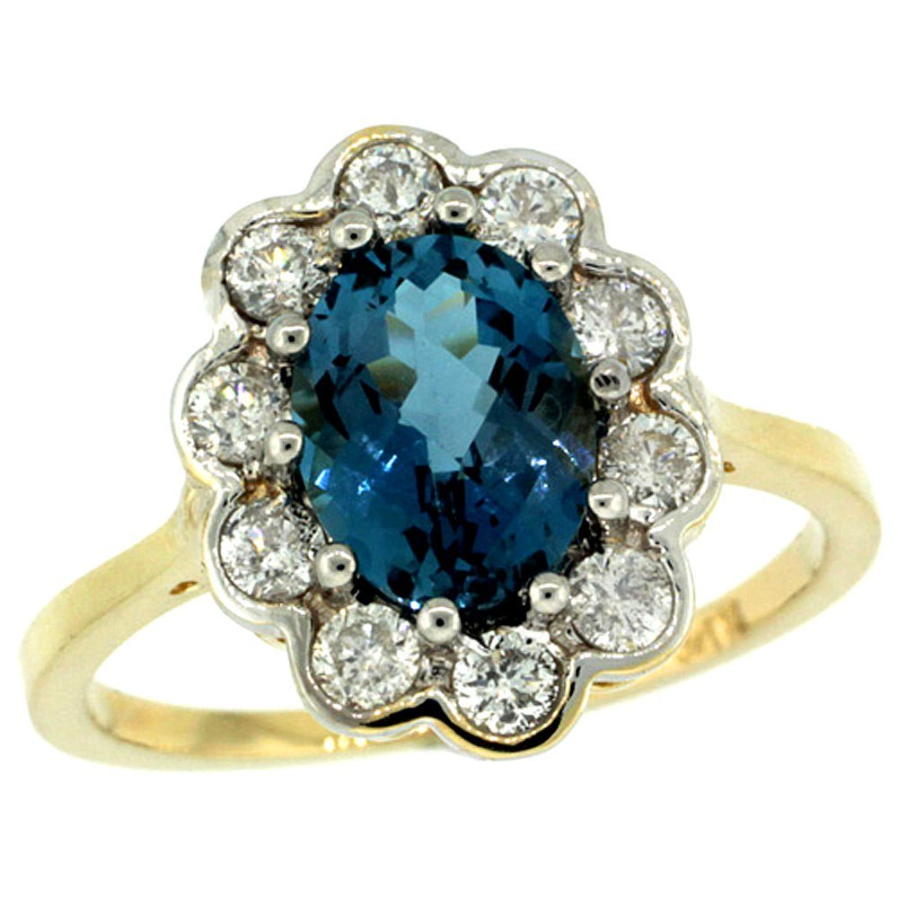 Natural 2.34 ctw London-blue-topaz & Diamond Engagement