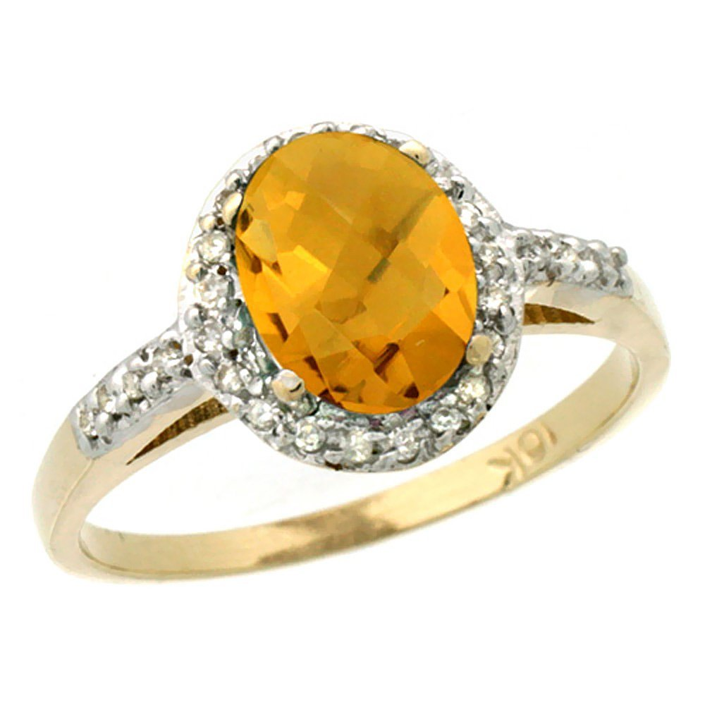 Natural 1.3 ctw Whisky-quartz & Diamond Engagement Ring