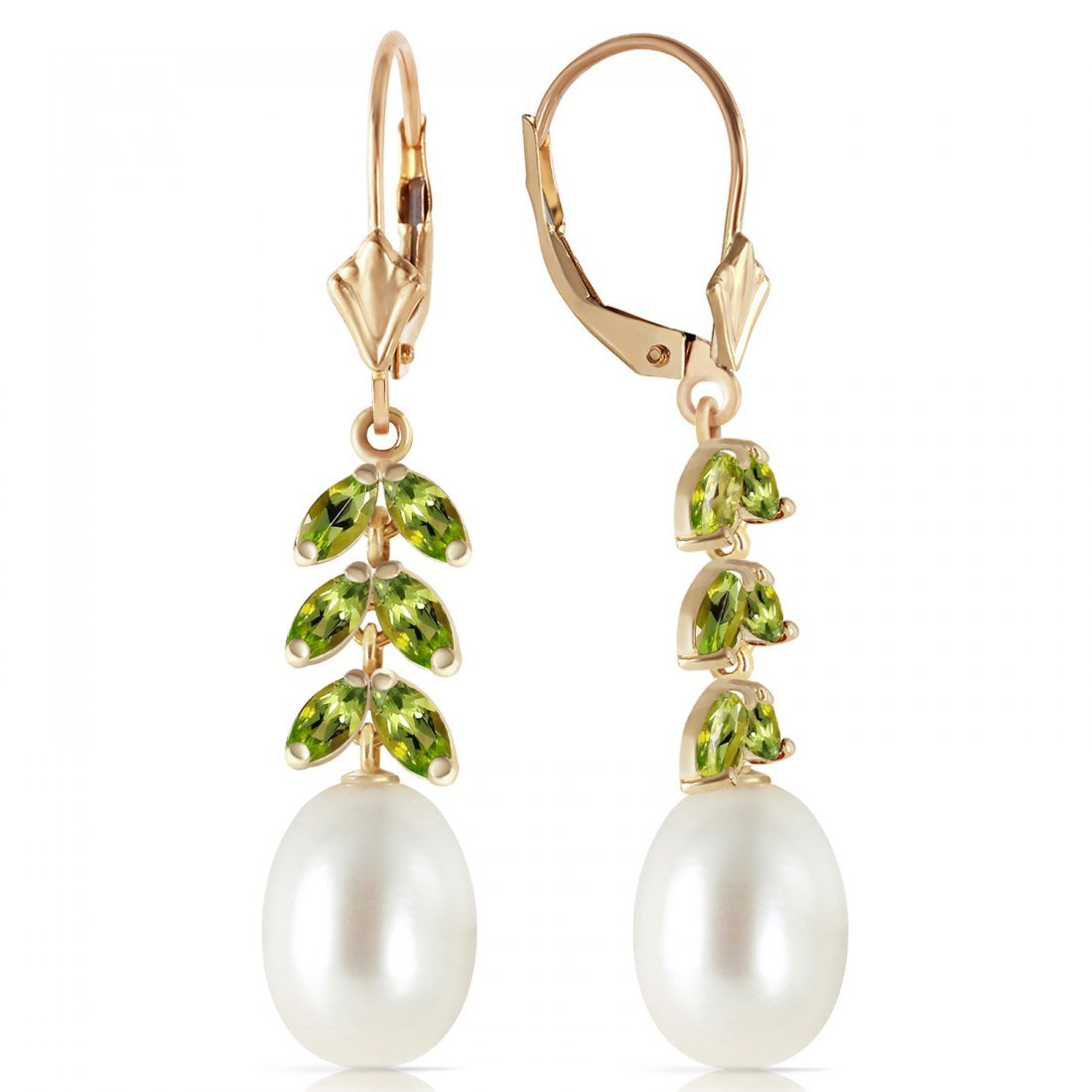 Genuine 9.2 ctw Pearl & Peridot Earrings Jewelry 14KT