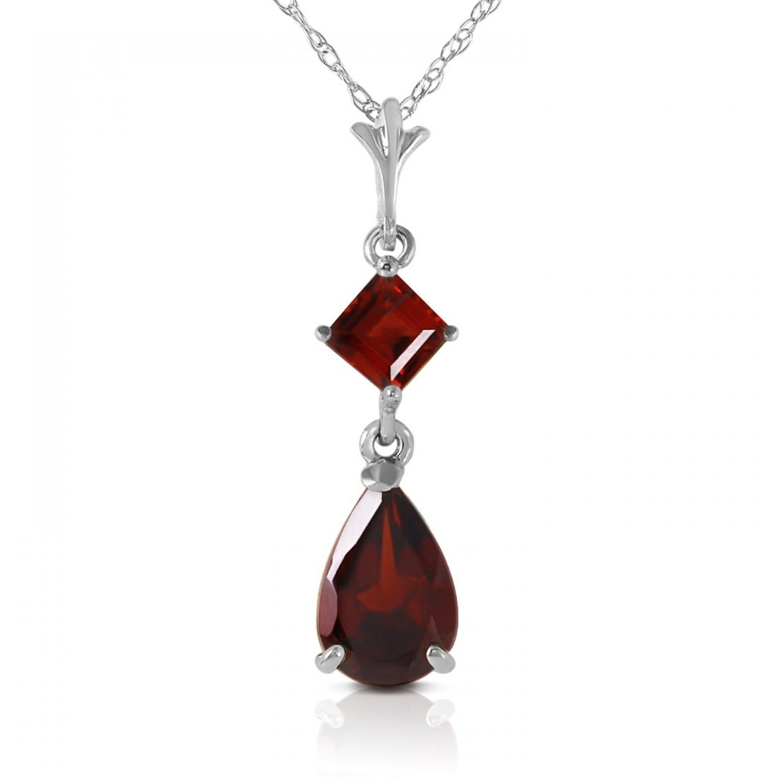 Genuine 2 ctw Garnet Necklace Jewelry 14KT White Gold -