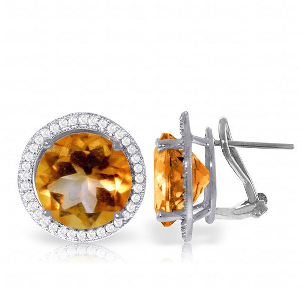 Genuine 12.4 ctw Citrine & Diamond Earrings Jewelry