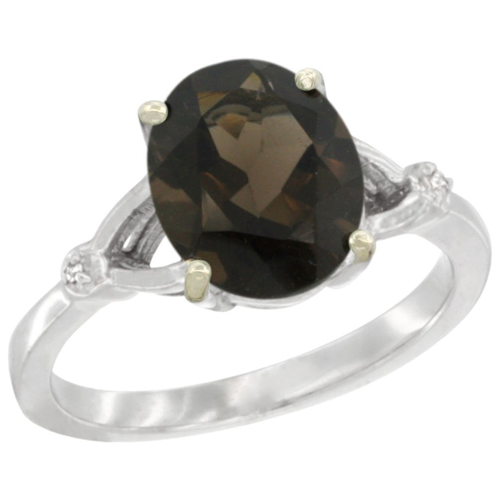 Natural 2.41 ctw Smoky-topaz & Diamond Engagement Ring