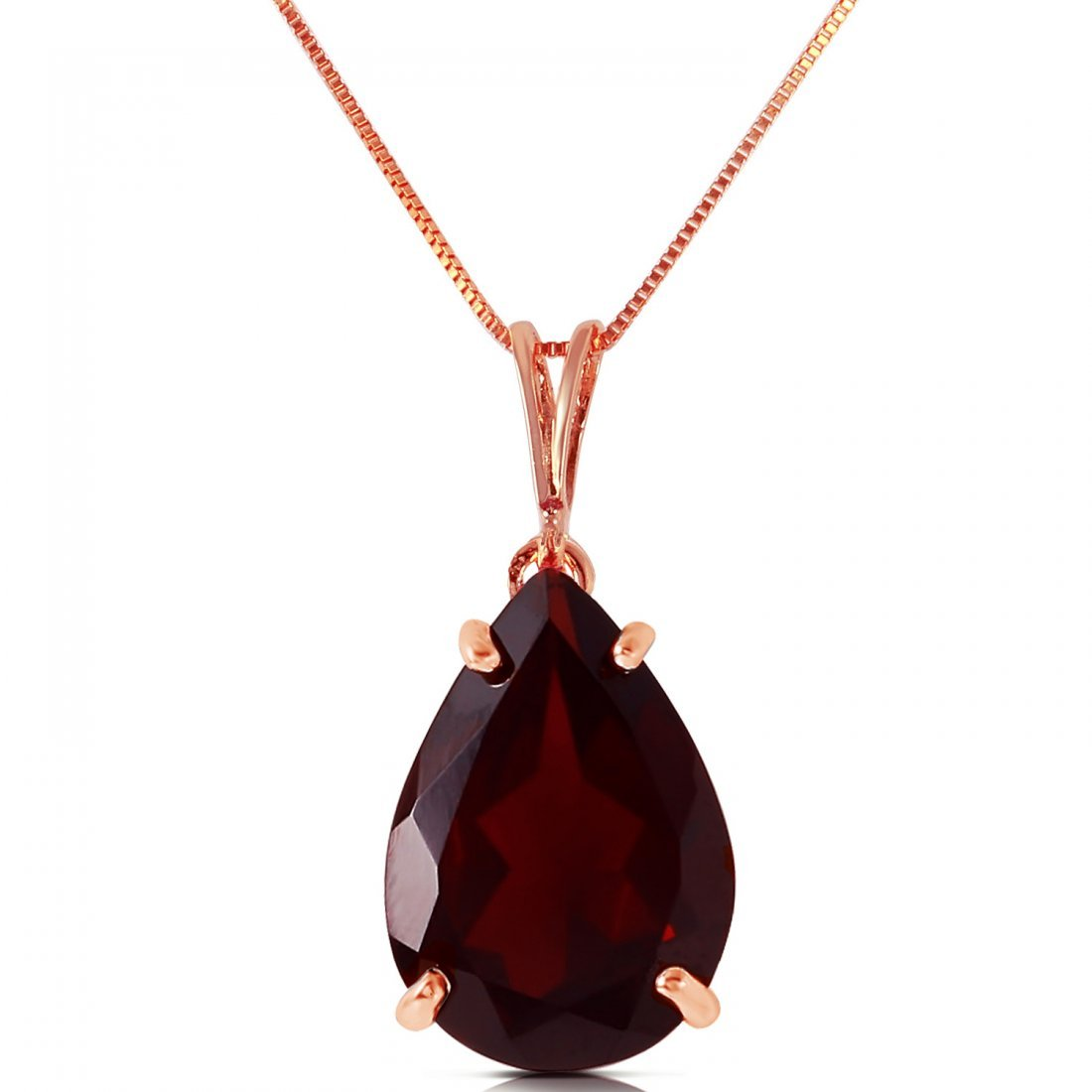 Genuine 5 ctw Garnet Necklace Jewelry 14KT Rose Gold -