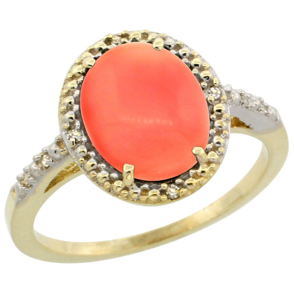 Natural 2.02 ctw Coral & Diamond Engagement Ring 14K